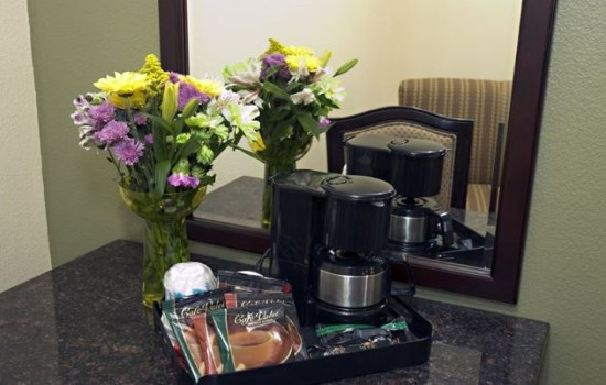 Fresh Cut Flowers and In-Room Coffee